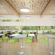 Detal fotorealistyczne umeblowane wnętrze kafeterii z kuchnią V4 (1) 3d model