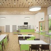 Detal fotorealistyczne umeblowane wnętrze kafeterii z dołączoną komercyjną kuchnią V5 3d model
