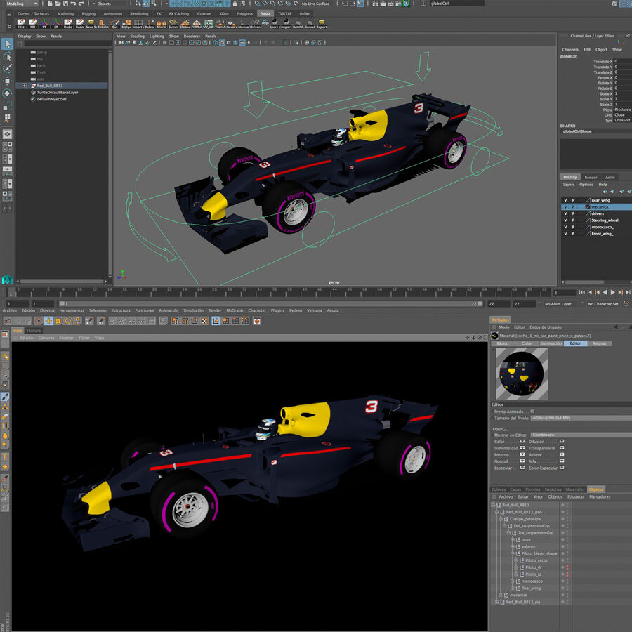 Formel 1-bil 2017 royalty-free 3d model - Preview no. 15