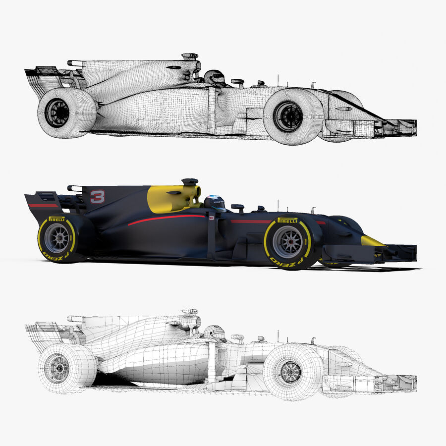 Formel 1-bil 2017 royalty-free 3d model - Preview no. 10