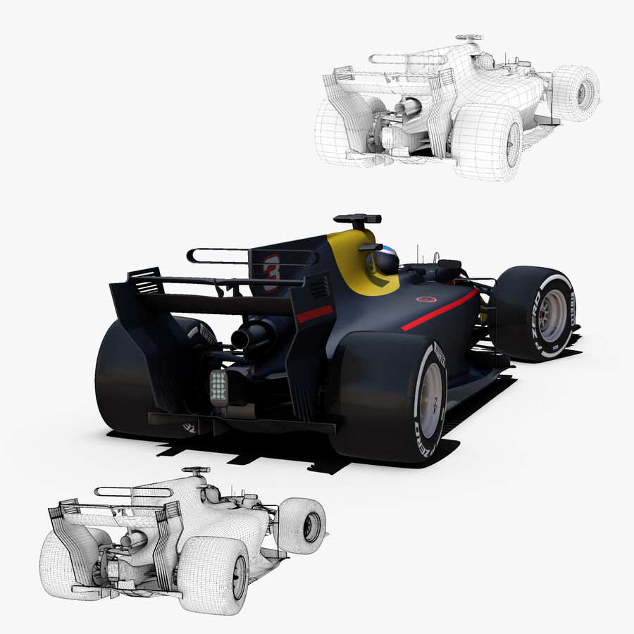 Formel 1-bil 2017 royalty-free 3d model - Preview no. 7