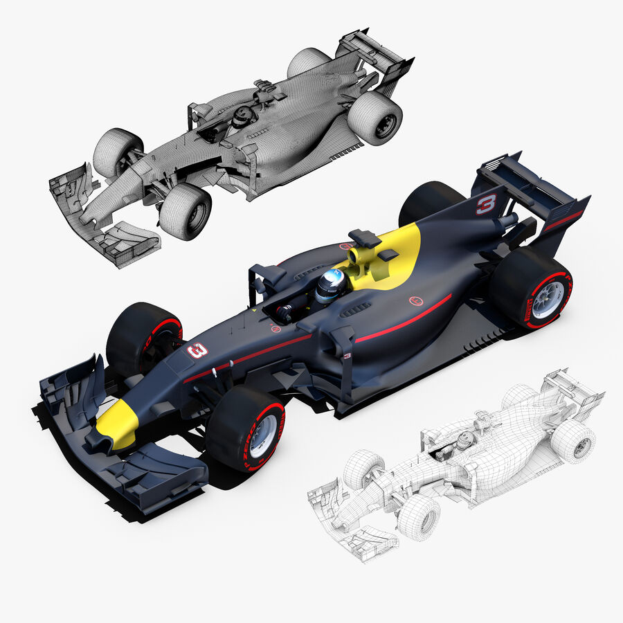 Formel 1-bil 2017 royalty-free 3d model - Preview no. 5