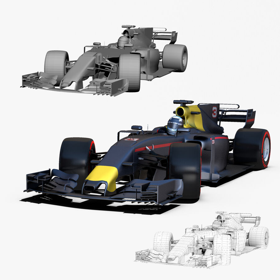 Formel 1-bil 2017 royalty-free 3d model - Preview no. 3