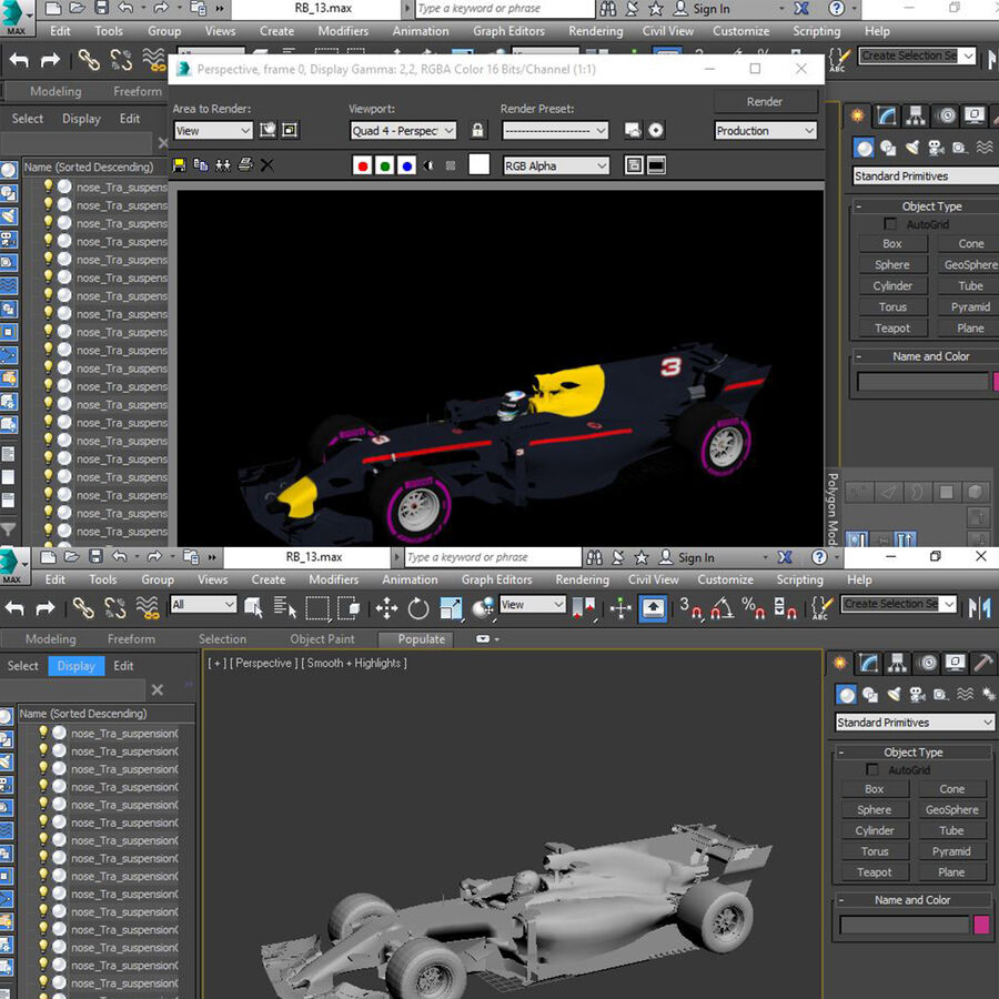 Formel 1-bil 2017 royalty-free 3d model - Preview no. 16