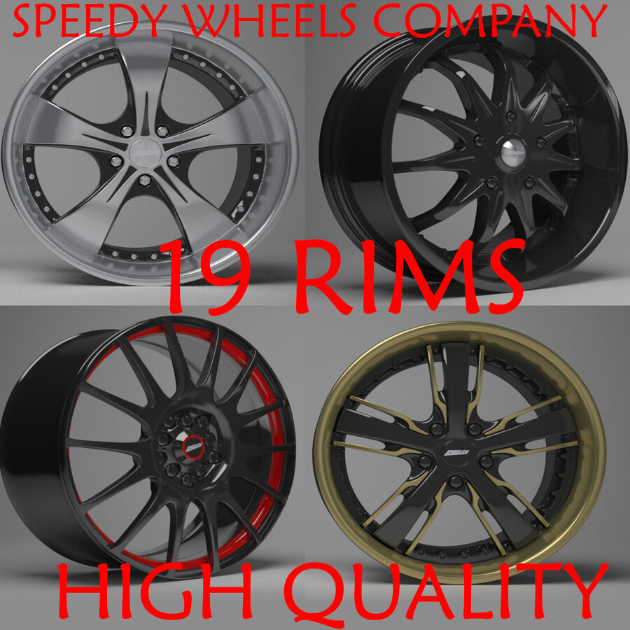 Speedy Wheels Rims Collection royalty-free 3d model - Preview no. 1