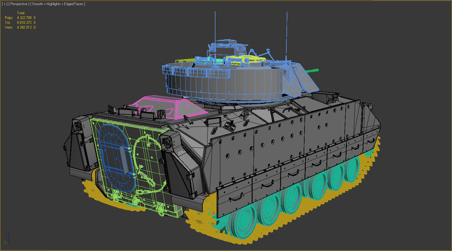 M2A2 Bradley Untextured royalty-free 3d model - Preview no. 11