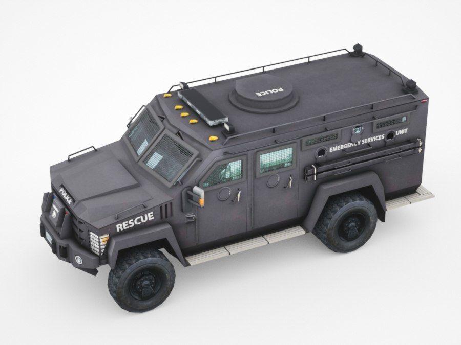 警察Lenco Bearcat装甲车 royalty-free 3d model - Preview no. 3