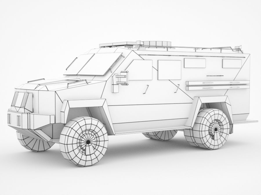 police Lenco Bearcat armored van royalty-free 3d model - Preview no. 7