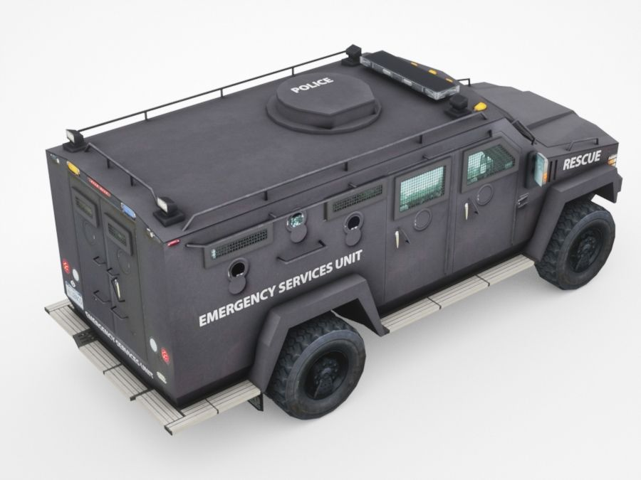 police Lenco Bearcat armored van royalty-free 3d model - Preview no. 4