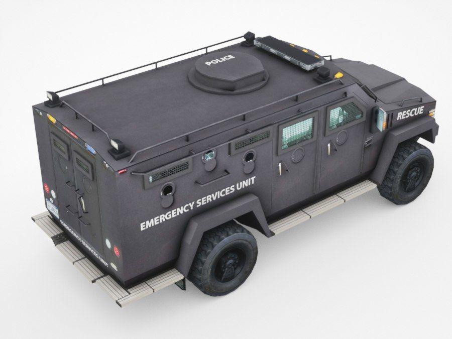 警察Lenco Bearcat装甲车 royalty-free 3d model - Preview no. 4