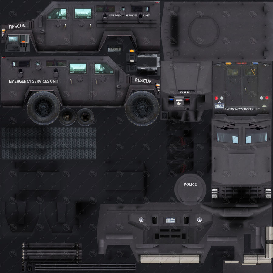 警察Lenco Bearcat装甲车 royalty-free 3d model - Preview no. 9