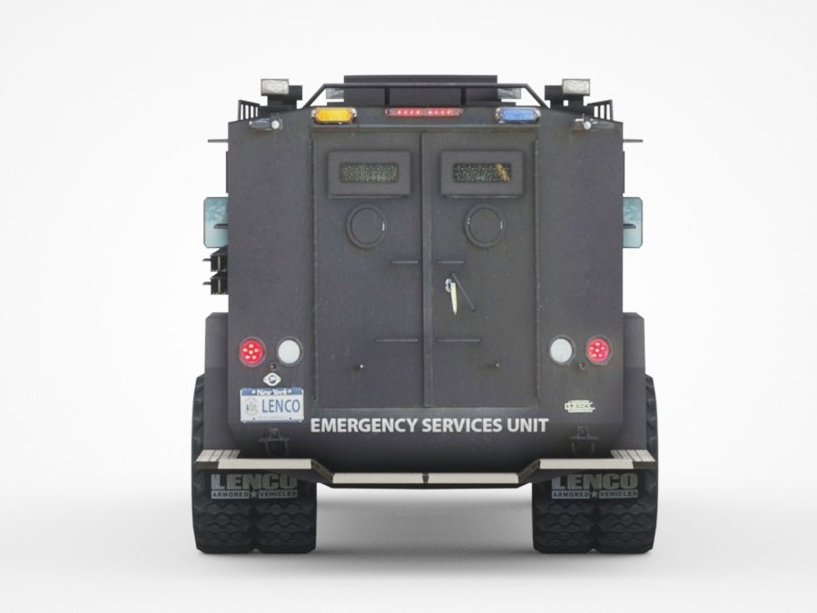 police Lenco Bearcat armored van royalty-free 3d model - Preview no. 5