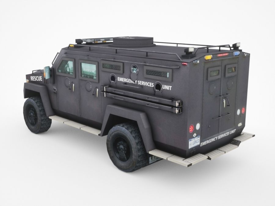 police Lenco Bearcat armored van royalty-free 3d model - Preview no. 2
