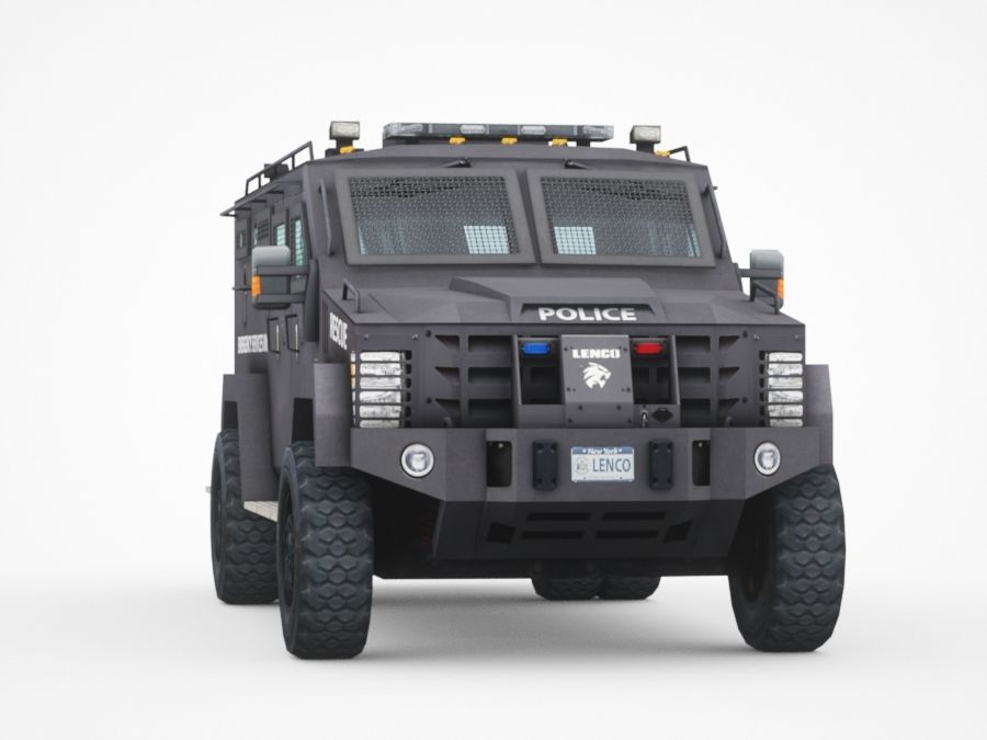 police Lenco Bearcat armored van royalty-free 3d model - Preview no. 6