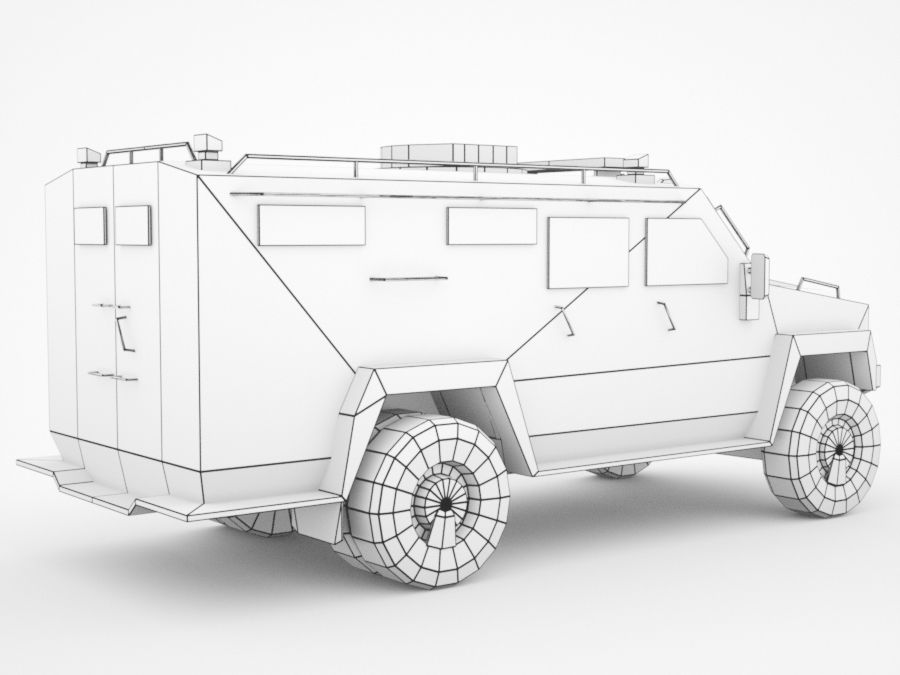 police Lenco Bearcat armored van royalty-free 3d model - Preview no. 8