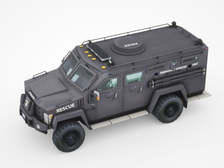 police Lenco Bearcat armored van royalty-free 3d model - Preview no. 3