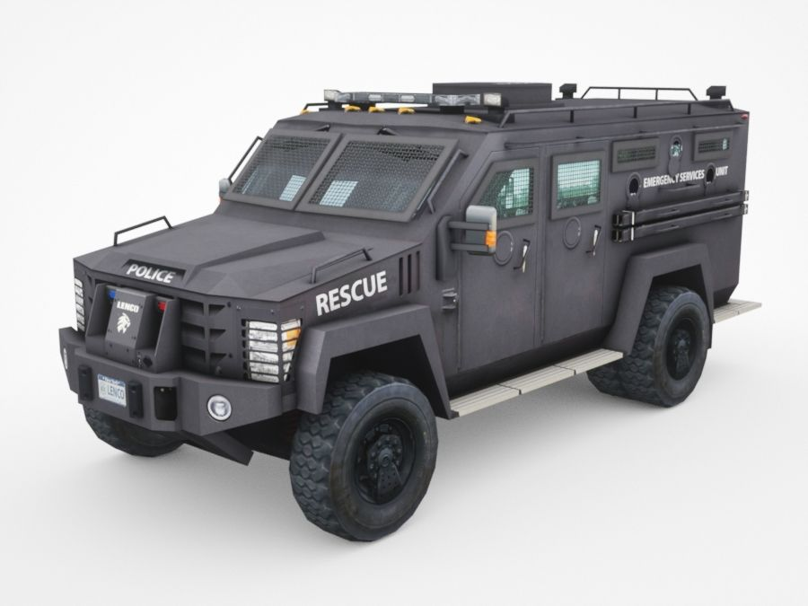 police Lenco Bearcat armored van royalty-free 3d model - Preview no. 1
