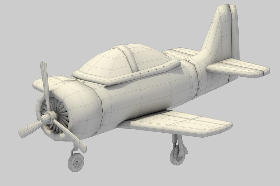 Cartoon Airplane royalty-free 3d model - Preview no. 11