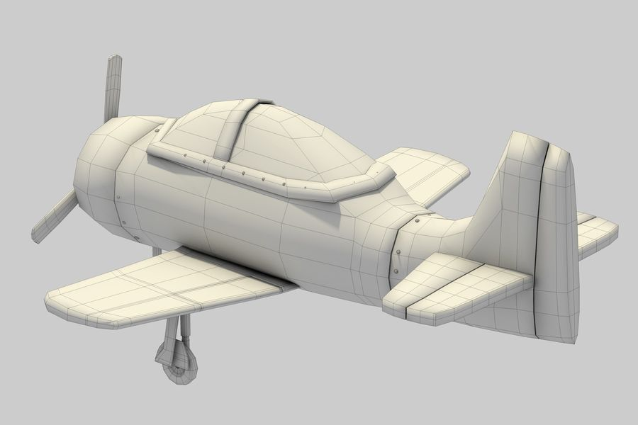 Cartoon Airplane royalty-free 3d model - Preview no. 10