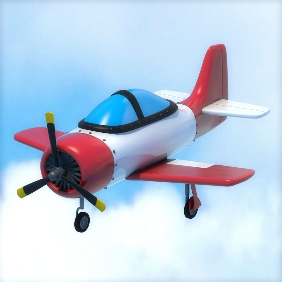 Cartoon Airplane royalty-free 3d model - Preview no. 1
