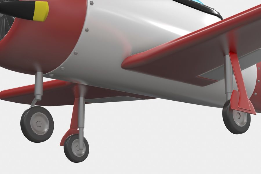 Cartoon Airplane royalty-free 3d model - Preview no. 4