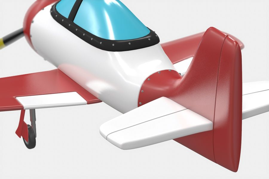 Cartoon Airplane royalty-free 3d model - Preview no. 7