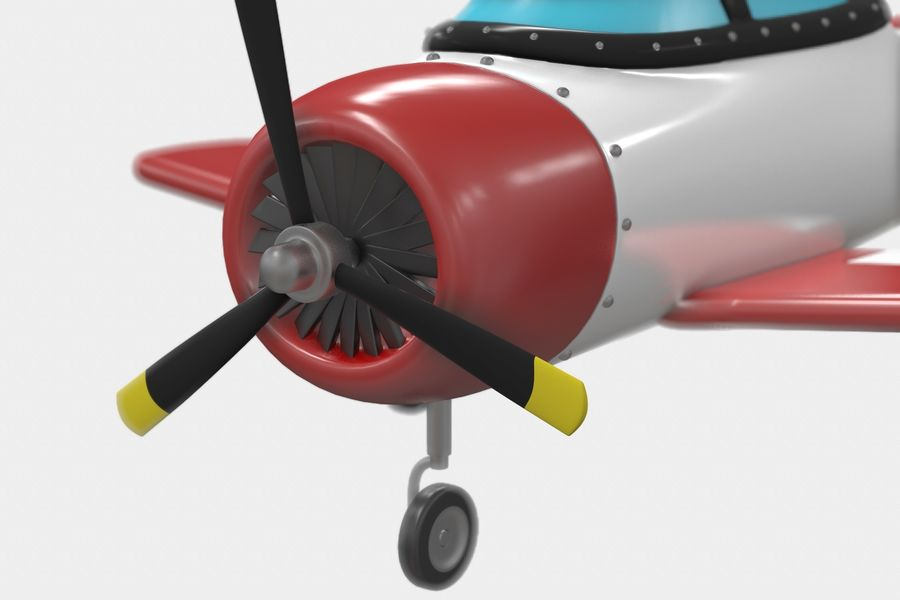 Cartoon Airplane royalty-free 3d model - Preview no. 2