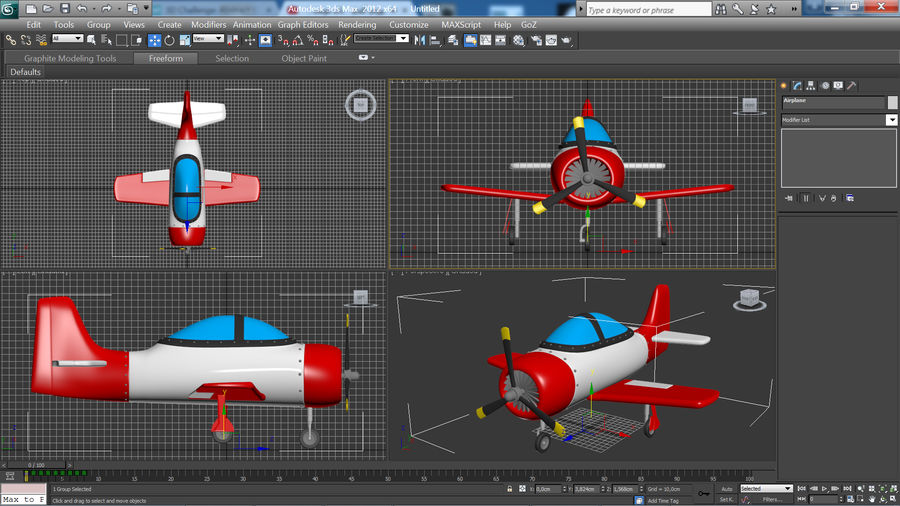 Cartoon Airplane royalty-free 3d model - Preview no. 12