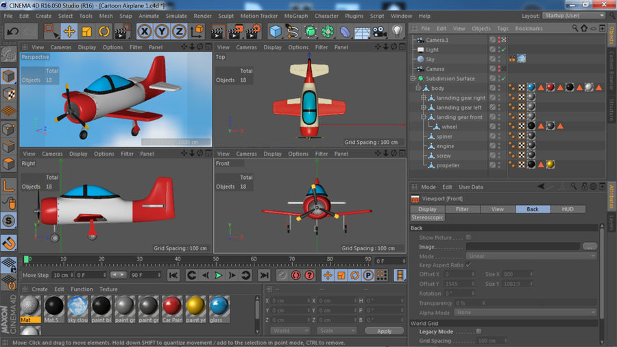 Cartoon Airplane royalty-free 3d model - Preview no. 13
