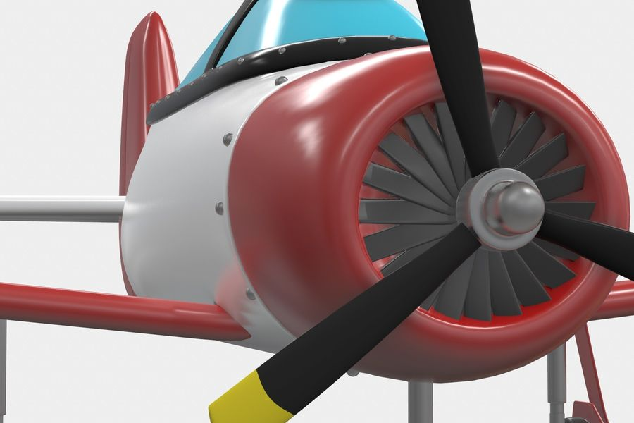 Cartoon Airplane royalty-free 3d model - Preview no. 3