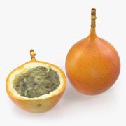 Granadilla Whole and Slice Fruit 3d model