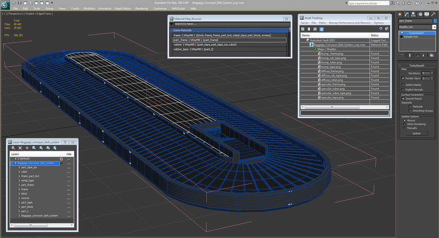 Bagage transportband systeem royalty-free 3d model - Preview no. 16