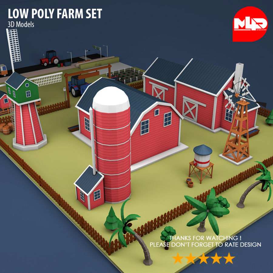 Conjunto de Fazenda Low Poly royalty-free 3d model - Preview no. 5