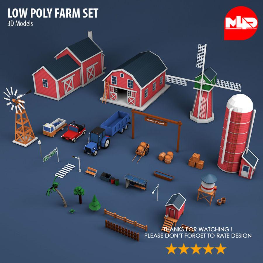 Conjunto de Fazenda Low Poly royalty-free 3d model - Preview no. 6