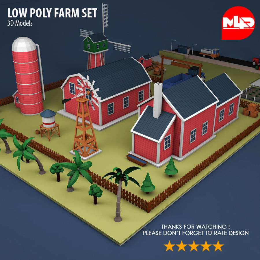 Conjunto de Fazenda Low Poly royalty-free 3d model - Preview no. 4