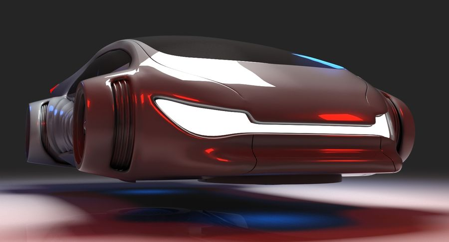 Futuristisk bil 7 royalty-free 3d model - Preview no. 8