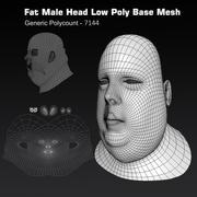 Tête humaine, graisse masculine, bas, base poly 3d model