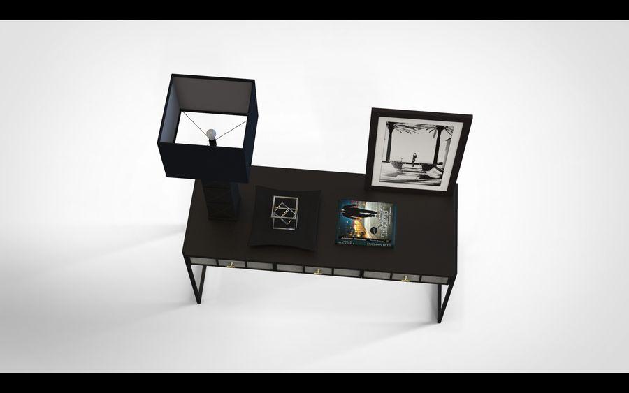 Bureau avec objets (jeu prêt) royalty-free 3d model - Preview no. 3