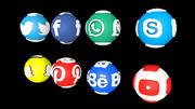 Social Media Logo Sphere 3d model