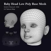Tête de bébé humain, base basse en poly 3d model
