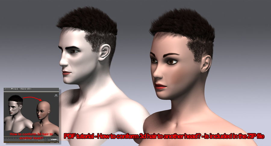 Hair Cards 11 royalty-free 3d model - Preview no. 20