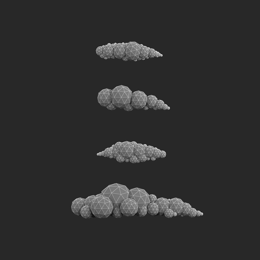 bande dessinée nuages bas poly pack royalty-free 3d model - Preview no. 16