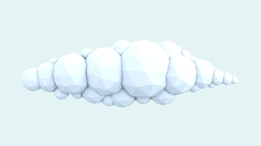 bande dessinée nuages bas poly pack royalty-free 3d model - Preview no. 12
