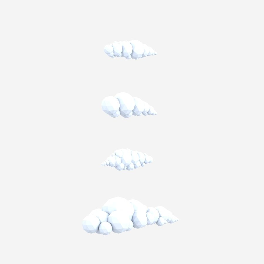 bande dessinée nuages bas poly pack royalty-free 3d model - Preview no. 6