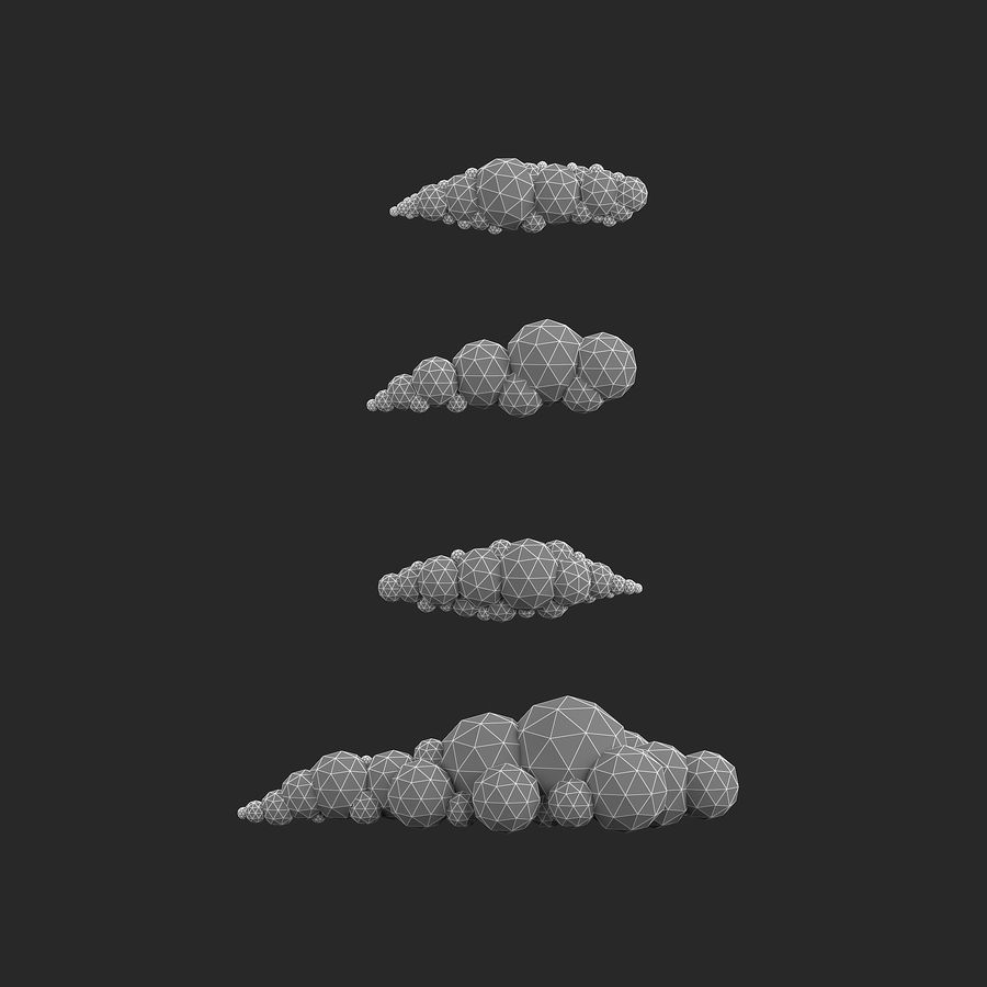 bande dessinée nuages bas poly pack royalty-free 3d model - Preview no. 17