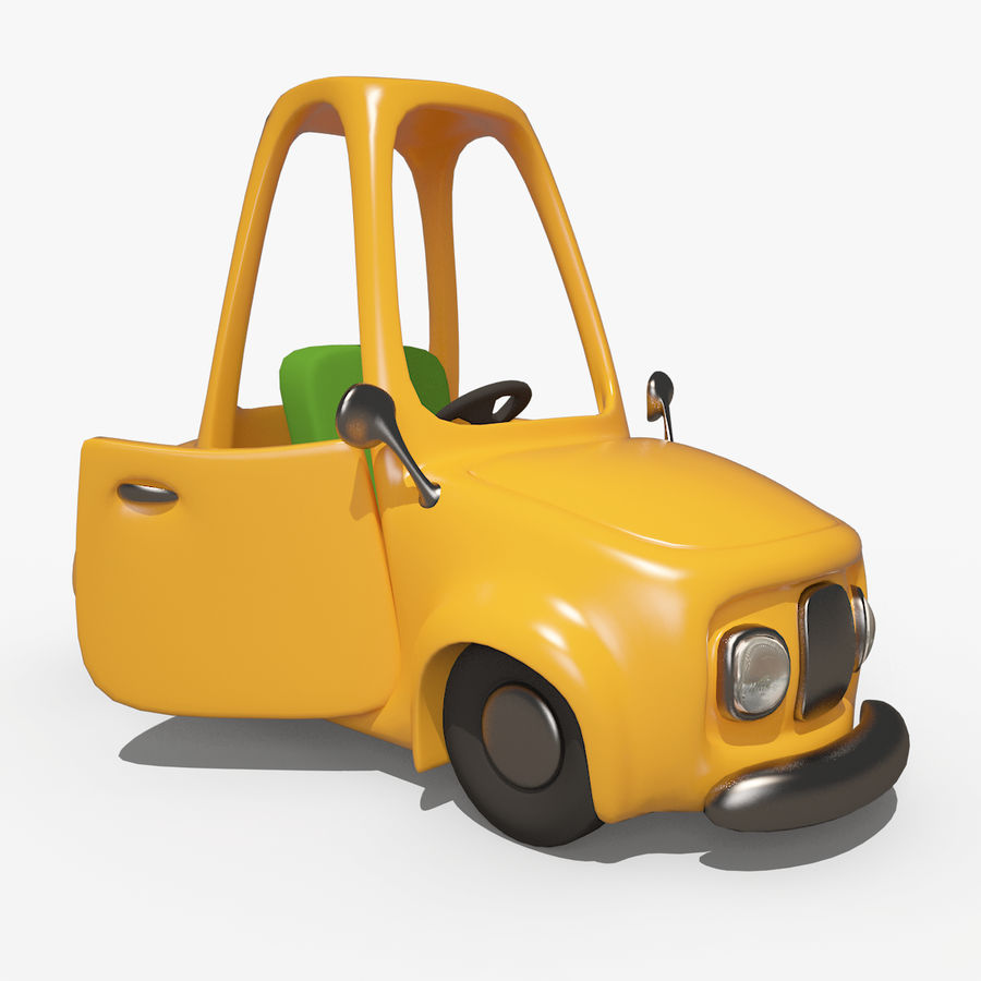 漫画車-タクシー-タクシー royalty-free 3d model - Preview no. 5