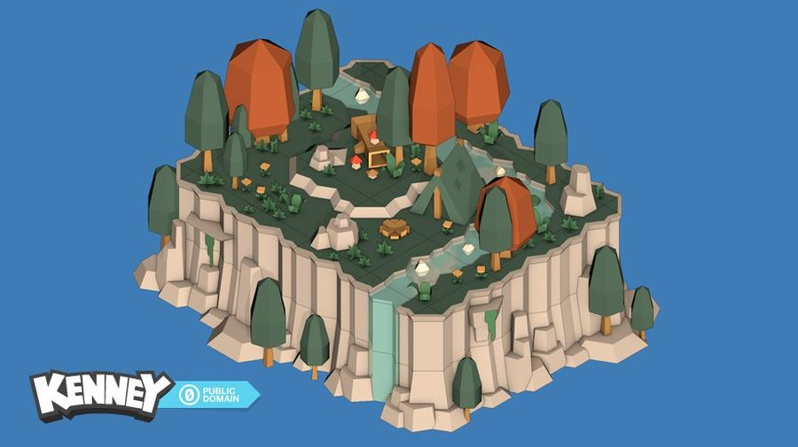 Landschaft Lowpoly Game Asset royalty-free 3d model - Preview no. 1