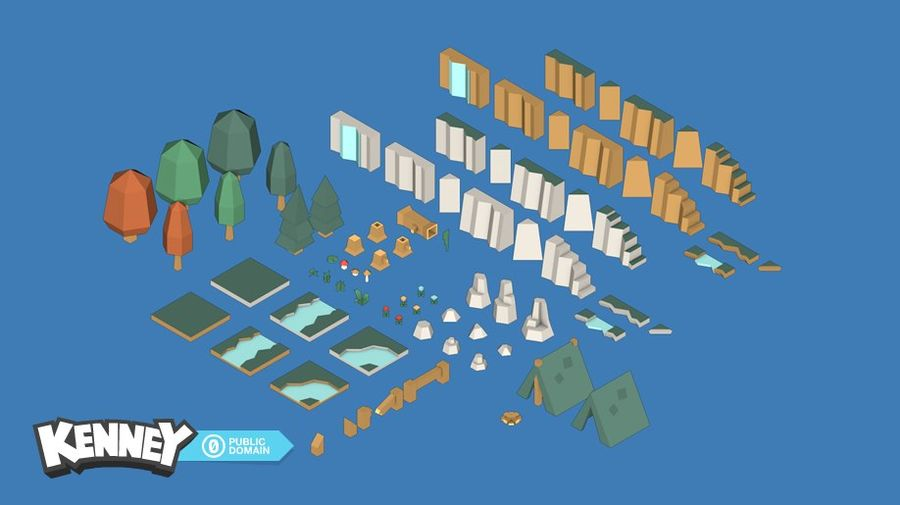 Landschaft Lowpoly Game Asset royalty-free 3d model - Preview no. 2