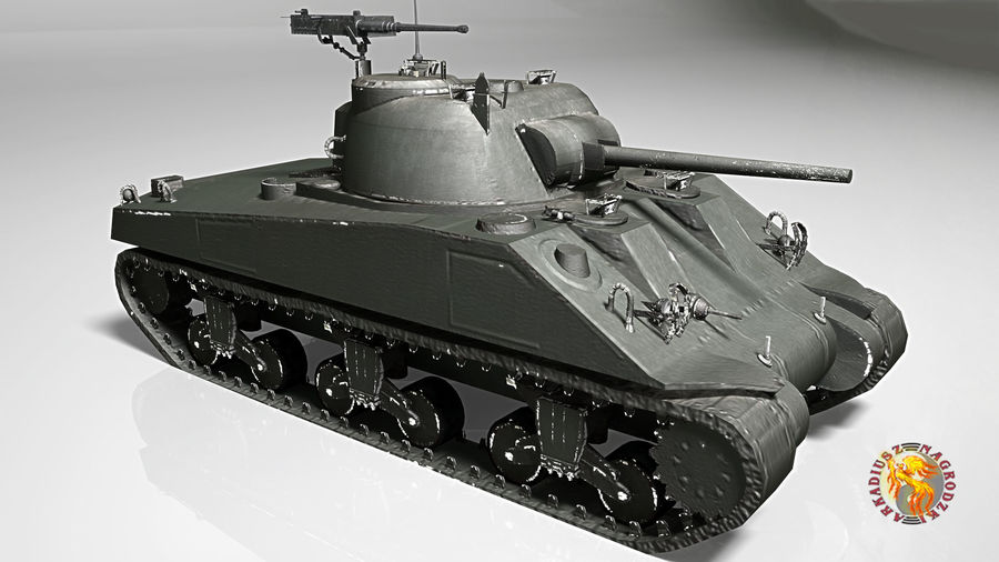 sherman m4 royalty-free 3d model - Preview no. 6