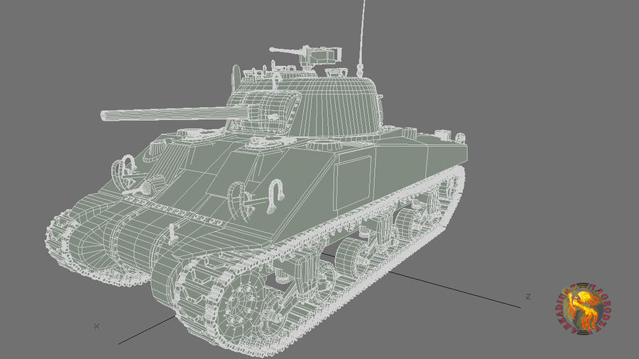 sherman M4 HP royalty-free 3d model - Preview no. 4